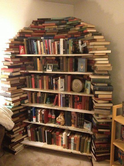 book shelf made of books