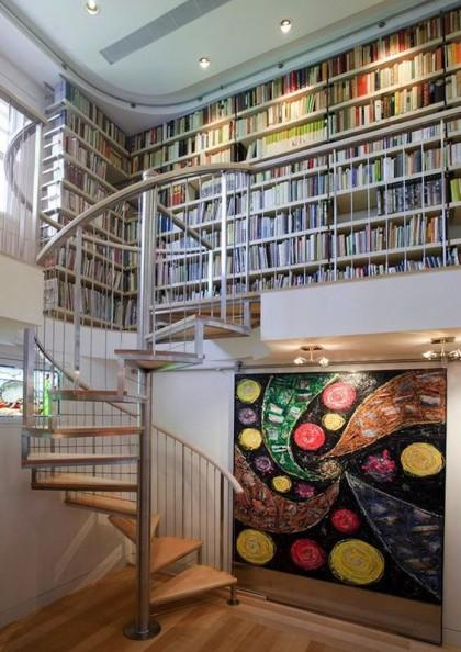 spiral stairs book shelf